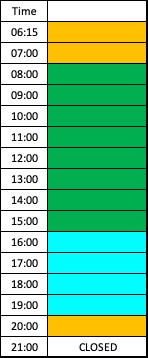 Lane schedule in diving pool weekdays - jan 2020