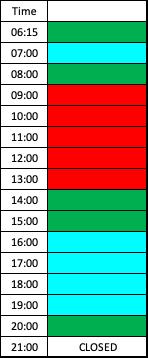 lane schedule training pool weekdays